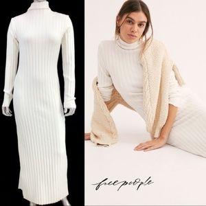 FREE PEOPLE White Luna Ribbed Dress
